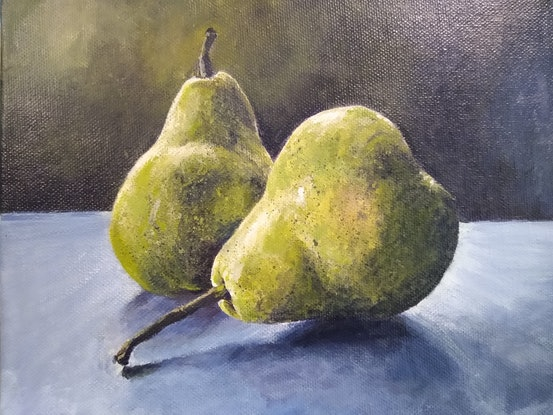 (CreativeWork) Two Pears by Yvette Colton. Acrylic Paint. Shop online at Bluethumb.