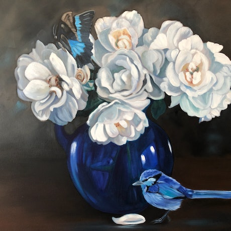 (CreativeWork) Blue Thou Art, Intensely Blue - Original oil fairy wren , roses and butterfly by Mia Laing. Oil Paint. Shop online at Bluethumb.