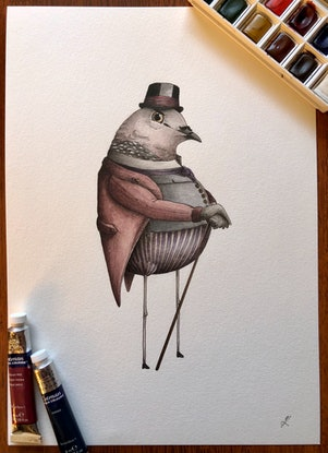(CreativeWork) Lord Spotted Dove by J. L. Watercolour Paint. Shop online at Bluethumb.