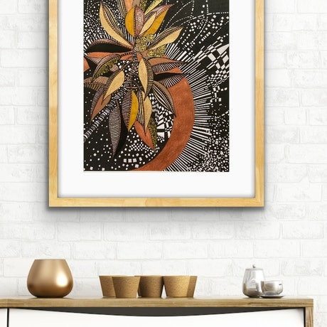 (CreativeWork) Seed Pods In Black and Gold 1 by Tania Daymond. Drawings. Shop online at Bluethumb.