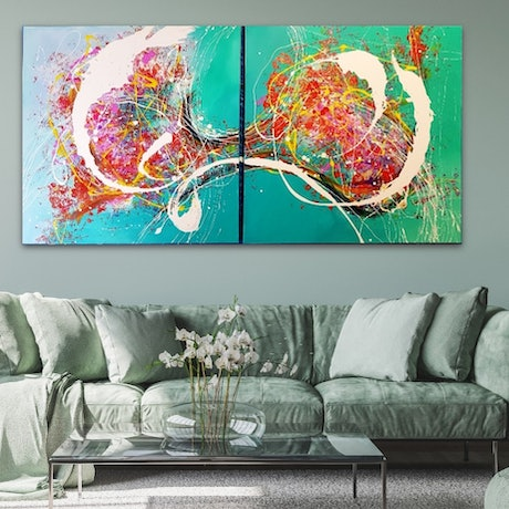 (CreativeWork) DEFINED MOMENT with Emerald ( diptych) by Basia Kilian. Acrylic Paint. Shop online at Bluethumb.