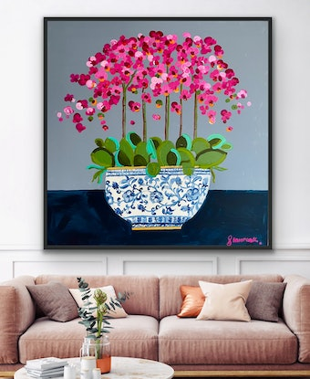 (CreativeWork) Pink orchid 106x106 framed large textured abstract by Sophie Lawrence. Acrylic Paint. Shop online at Bluethumb.