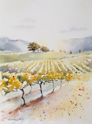 (CreativeWork) Hunter Valley Sunset by Anastasia Mily. Watercolour Paint. Shop online at Bluethumb.