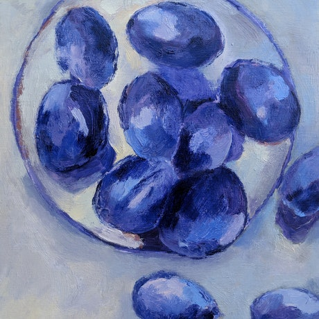 (CreativeWork) A plate of plums by Amanda Cutlack. Oil Paint. Shop online at Bluethumb.