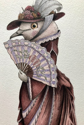 (CreativeWork) Lady Spotted Dove by J. L. Watercolour Paint. Shop online at Bluethumb.