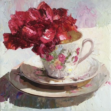 (CreativeWork) Red Rose Tea cup by Katrina Linn. Oil Paint. Shop online at Bluethumb.