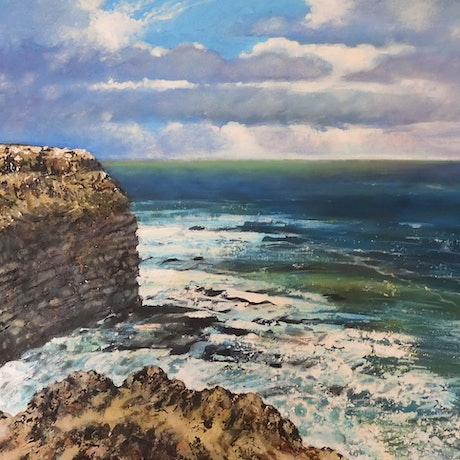 (CreativeWork) The Cape Cliff and the Wide Green Sea by Stella Clarke. Acrylic Paint. Shop online at Bluethumb.