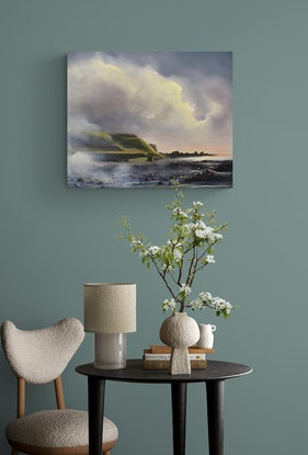 (CreativeWork) Rising Mist at Godfrey's Beach by Elaine Green. Oil Paint. Shop online at Bluethumb.