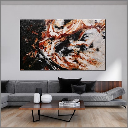 (CreativeWork) Slated Licorice and Ice 250cm x 150cm Oxide Black Abstract Textured Ink Gloss Finish FRANKO by _Franko _. Acrylic Paint. Shop online at Bluethumb.