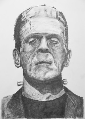 (CreativeWork) Frankenstein's Monster by Mark Shannon. Drawings. Shop online at Bluethumb.