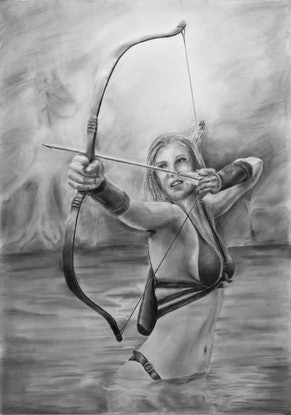(CreativeWork) The Archer by Mark Shannon. Drawing. Shop online at Bluethumb.