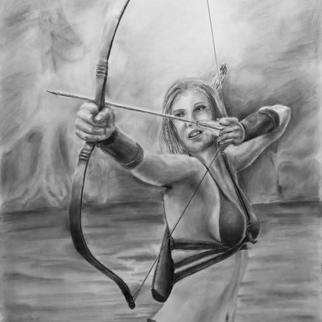 (CreativeWork) The Archer by Mark Shannon. Drawings. Shop online at Bluethumb.