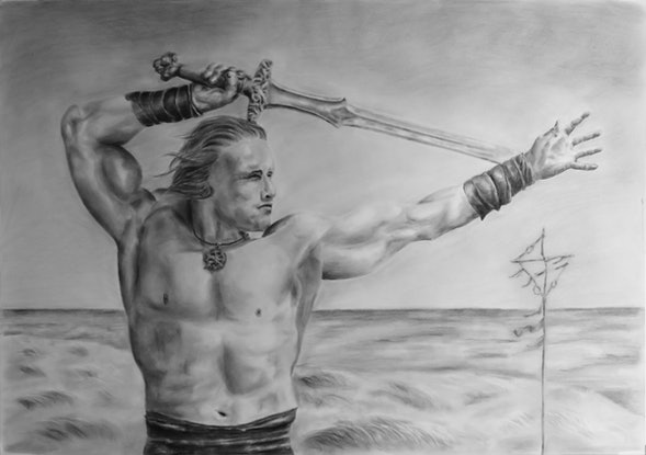 (CreativeWork) Conan The Barbarian by Mark Shannon. Drawing. Shop online at Bluethumb.