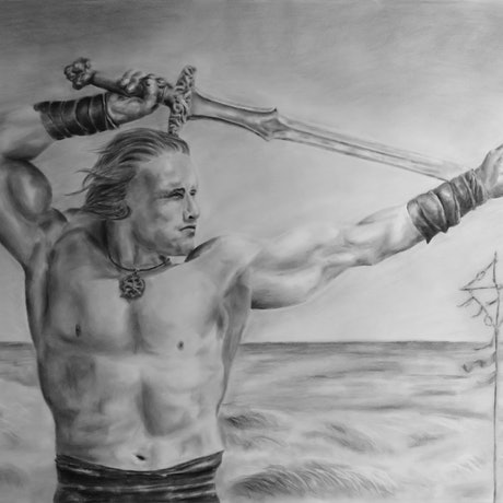 (CreativeWork) Conan The Barbarian by Mark Shannon. Drawings. Shop online at Bluethumb.