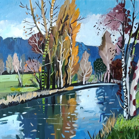 (CreativeWork) Landscape  -  Autumn Light by Susan Trudinger. Acrylic Paint. Shop online at Bluethumb.