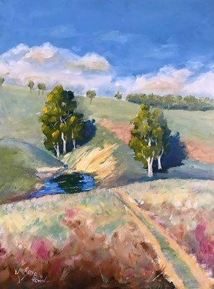 (CreativeWork) Track to the waterhole by Ron Brown. Oil Paint. Shop online at Bluethumb.