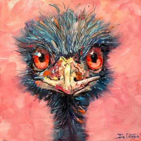 (CreativeWork) Emu 85 by Jos Coufreur. Oil Paint. Shop online at Bluethumb.