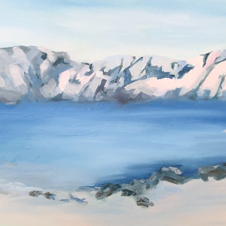 (CreativeWork) Glacier Lake by Meredith Howse. Oil Paint. Shop online at Bluethumb.