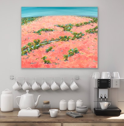 (CreativeWork) A River Meanders by Eve Sellars. Oil Paint. Shop online at Bluethumb.