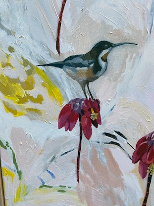 (CreativeWork) Eastern Spinebill and Kalanchoe by Sally Browne. Oil Paint. Shop online at Bluethumb.