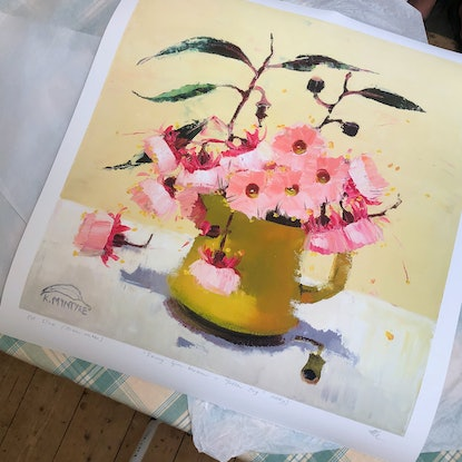 """(CreativeWork) """"Fairy gum blossom in yellow jug (study)"""" Ed. 2 of 20 by kirsty mcintyre. Print. Shop online at Bluethumb."""