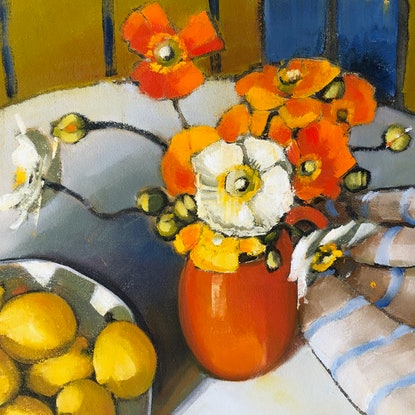 (CreativeWork) (Print) Poppies, lemons and blue stripe  Ed. 7 of 20 by kirsty mcintyre. Print. Shop online at Bluethumb.