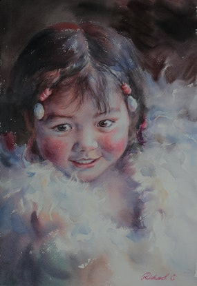 (CreativeWork) Little One by Richard(Tiejun) Chao. Watercolour Paint. Shop online at Bluethumb.