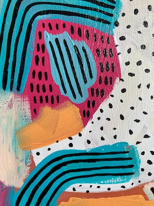 (CreativeWork) A Destined Strawberry in a Dolphin's World by Georgina Fraser. Acrylic Paint. Shop online at Bluethumb.