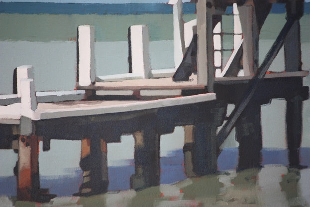 (CreativeWork) Playing By The Jetty by Claire McCall. Oil. Shop online at Bluethumb.
