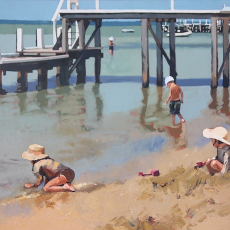 (CreativeWork) Playing By The Jetty by Claire McCall. Oil Paint. Shop online at Bluethumb.