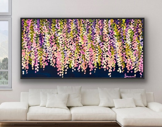 (CreativeWork) Full bloom wisteria 157x80 framed large textured abstract  by Sophie Lawrence. Acrylic Paint. Shop online at Bluethumb.