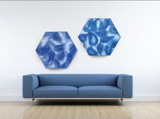 """(CreativeWork) """"Fifty shades of Blue"""" 01 abstract  feathers in tonal oil painting series by Tamara Klimova. Oil Paint. Shop online at Bluethumb."""