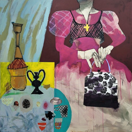 (CreativeWork) High Tea by Elizabeth Wojciak. Acrylic Paint. Shop online at Bluethumb.