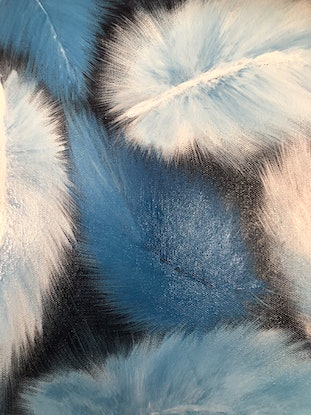 "(CreativeWork) ""Fifty shades of Blue"" 02 abstract feathers in tonal oil painting series by Tamara Klimova. Oil Paint. Shop online at Bluethumb."