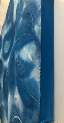 """(CreativeWork) """"Fifty shades of Blue"""" 03 abstract feathers in tonal oil painting series by Tamara Klimova. Oil Paint. Shop online at Bluethumb."""