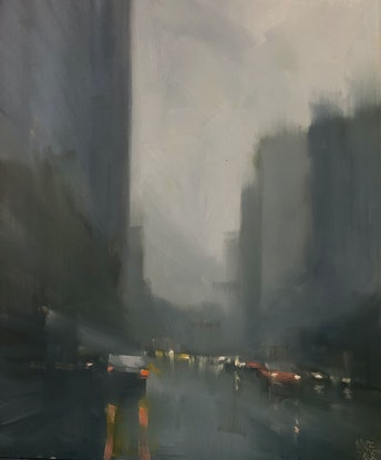 (CreativeWork) Red car in the Rain - rainy cityscape by Mike Barr. Oil Paint. Shop online at Bluethumb.