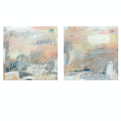 (CreativeWork) The Passenger, diptych by Nicole Fearfield. Acrylic Paint. Shop online at Bluethumb.