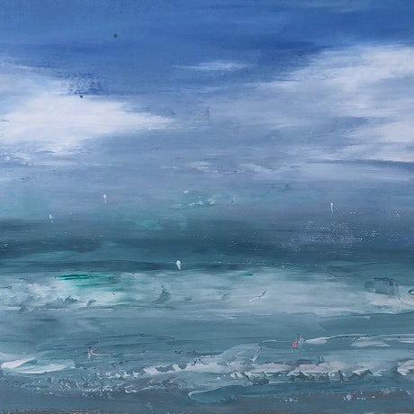 (CreativeWork) Middleton Waves - seascape by Tina Barr. Acrylic Paint. Shop online at Bluethumb.