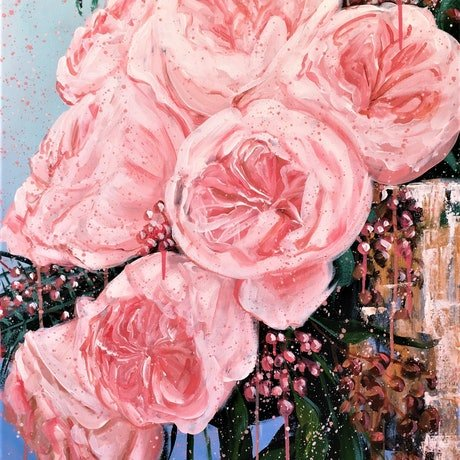 (CreativeWork) The Place for Love - Garden Roses in a Golden Vase  - Full Size Limited Edition Giclée print  Ed. 4 of 100 by HSIN LIN. Print. Shop online at Bluethumb.