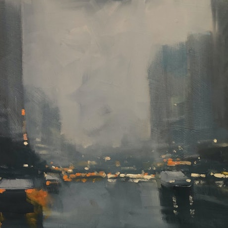 (CreativeWork) Winter City - rainy cityscape by Mike Barr. Oil Paint. Shop online at Bluethumb.