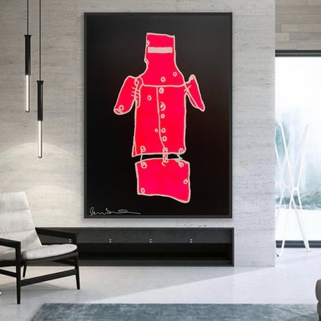 (CreativeWork) Ned Kelly Pink & Black  -   by Shane Bowden. Mixed Media. Shop online at Bluethumb.