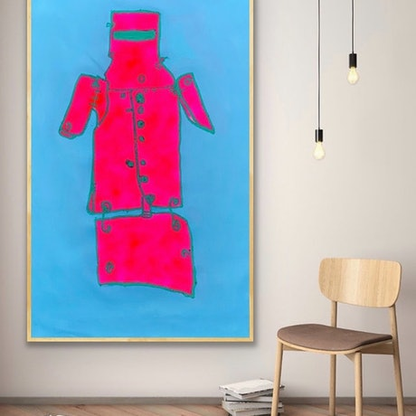 (CreativeWork) Ned Kelly Pink & Blue    - - by Shane Bowden. Mixed Media. Shop online at Bluethumb.