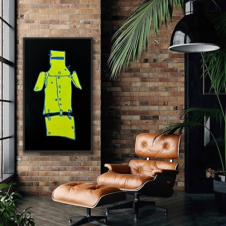 (CreativeWork) Ned Kelly Fluro Yellow  & Black  -  - by Shane Bowden. Mixed Media. Shop online at Bluethumb.
