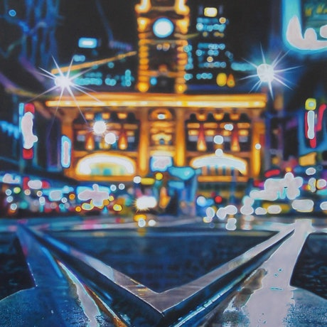 (CreativeWork) At the Crossroads by Todd Simpson. Acrylic Paint. Shop online at Bluethumb.