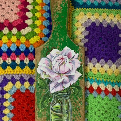 (CreativeWork) Pink Rose & Vintage Bottle Paddle painting by Alicia Cornwell. Oil Paint. Shop online at Bluethumb.