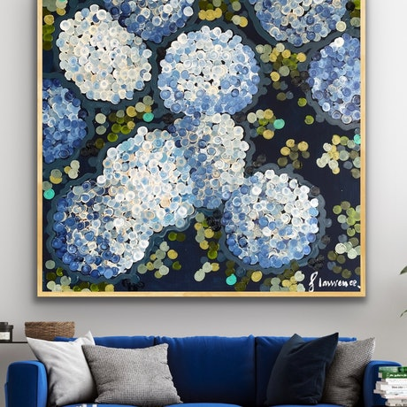 (CreativeWork) Blue night hydrangea 106x106 framed large textured abstract by Sophie Lawrence. Acrylic Paint. Shop online at Bluethumb.