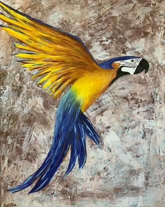 (CreativeWork) Take Flight- Bird no.1 by Ginsten .. Acrylic Paint. Shop online at Bluethumb.