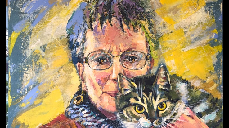 (CreativeWork) Mitzy, the artist's cat. Portrait of Susan Trudinger. by Valentyna Crane. Acrylic Paint. Shop online at Bluethumb.