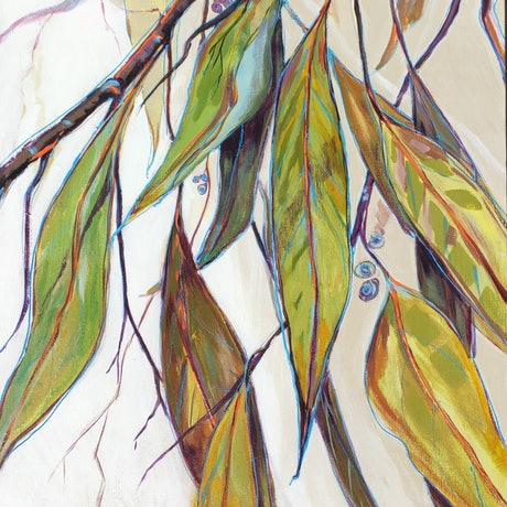 (CreativeWork) Autumn Leaves by Lyn Watts. Acrylic Paint. Shop online at Bluethumb.