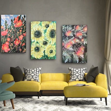 (CreativeWork) Wild Botanical Abstract Series -Sunflower, Camellia and Grevillea - Triptych - Ready To Hang by HSIN LIN. Acrylic Paint. Shop online at Bluethumb.